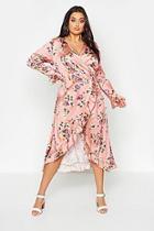 Boohoo Plus Wrap Floral Midi Dress