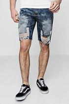 Boohoo Distressed Loose Fit Skater Denim Shorts