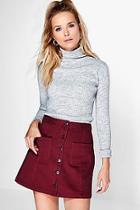 Boohoo Jinty Button Through Pocket Denim Skirt
