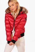 Boohoo Isabelle Cropped Padded Jacket With Faux Fur Hood