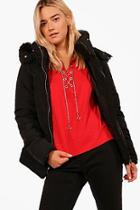 Boohoo Gabriella Fitted Padded Jacket With Faux Fur Hood