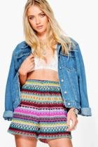 Boohoo Lara Multi Colour Crochet Shorts Multi