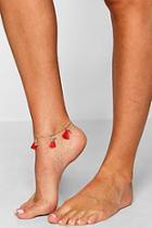 Boohoo Emma Pineapple Charm & Tassel Anklet