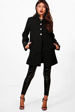 Boohoo Rosie Military Wool Look Coat