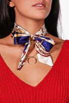 Boohoo Hollie Scarf Tie And Layered Chain Choker