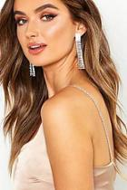 Boohoo Diamante Drop Statement Earrings