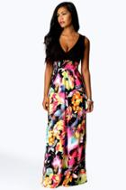 Boohoo Petite Kiera Rose Print Maxi Dress Black
