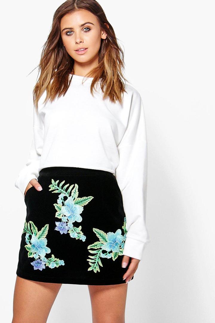 Boohoo Petite Roma Embroidered Aline Velvet Mini Skirt Black