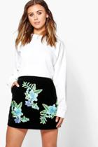Boohoo Petite Roma Embroidered Aline Velvet Mini Skirt Black