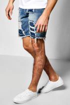 Boohoo Distressed Denim Shorts Indigo