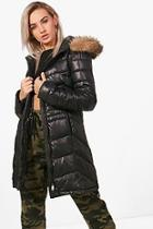 Boohoo Jennifer Fitted Padded Jacket With Faux Fur Hood