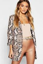 Boohoo Snake Print Tailored Blazer