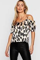 Boohoo Petite Leopard Print Woven Open Shoulder Blouse