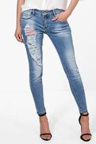 Boohoo Sally Sequin Distressed Skinny Jeans
