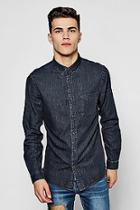 Boohoo Washed Black Denim Long Sleeve Shirt
