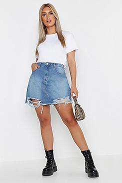 Boohoo Plus Distressed Hem Denim Skirt