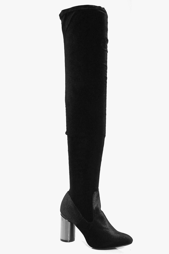 Boohoo Alexis Pewter Cylinder Heel Thigh High Boot Black