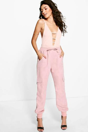 Boohoo Royah Soft Touch Pocket Side Woven Joggers Blush
