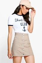 Boohoo Petite Tilly Aline Button Through Skirt Stone