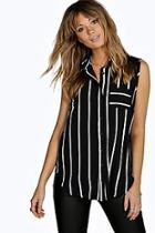 Boohoo Sionan Striped Sleeveless Woven Shirt