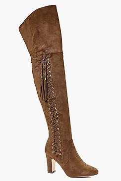 Boohoo Laura Eyelet Detailed Thigh High Boot