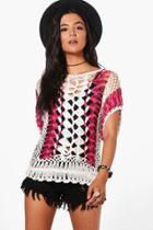 Boohoo Anna Crochet Knitted Top Rose
