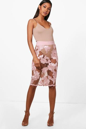 Boohoo Bea Boutique Mesh Embroidered Midi Skirt Blush