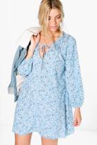 Boohoo Ava Printed Smock Dress Blue