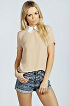 Boohoo Amelia Contrast Collar Blouse