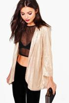 Boohoo Lily Boutique Sequin Tailored Blazer Gold