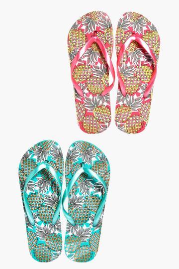 Boohoo Zoe Pineapple Print Two Pack Flip Flop Multi