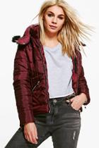 Boohoo Ava Crop Padded Jacket With Faux Fur Hood Wine