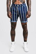 Boohoo Slim Fit Stripe Detail Denim Shorts