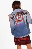 Boohoo Hannah Graffiti Denim Jacket