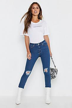 Boohoo Petite High Rise Distressed Skinny Jeans