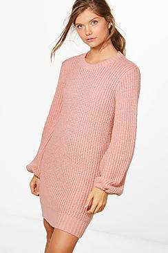 Boohoo Tall Lexi Bubble Sleeve Knitted Dress