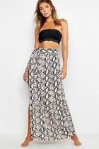 Boohoo Snake Print Maxi Tie Beach Skirt