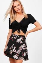Boohoo Petite Abigail Woven Aline Frill Mini Skirt