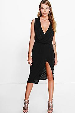 Boohoo Hadley Slinky Drape & Wrap Skirt Midi Dress