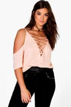 Boohoo Plus Jennie Lace Up Open Shoulder Blouse Nude