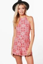 Boohoo Mikaela Tile Print Paisley High Neck Playsuit Red