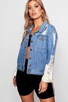 Boohoo Plus Sports Stripe Denim Jacket