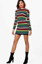 Boohoo Sophie Rib Knit Multi Stripe Dress