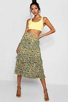 Boohoo Woven Floral Tiered Chiffon Maxi Skirt