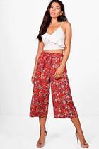 Boohoo Alana Oriental Floral Wide Leg Culottes