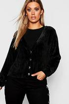 Boohoo Plus Chenille Button Detail Cardigan