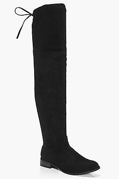 Boohoo Frances Flat Suedette Thigh High Boot