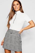 Boohoo Petite Houndstooth Jacquard Belted Mini Skirt
