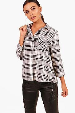 Boohoo Petite Nadia Oversized Check Shirt
