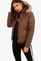 Boohoo Freya Fitted Padded Jacket With Faux Fur Hood